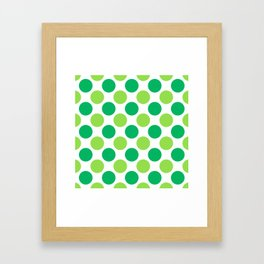 Green polka dots Framed Art Print