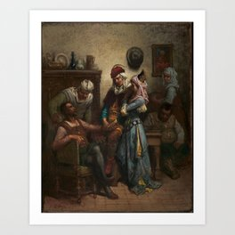 Gustave Doré Don Quixote and Sancho Panza Entertained by Basil and Quiteria Art Print
