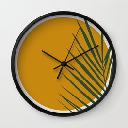 Palm tree sunshine gold Wall Clock