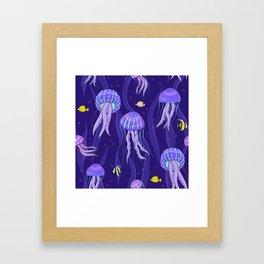 Sea jellyfish on dark purple background. Framed Art Print