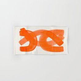 Mid Century Modern Abstract Painting Orange Watercolor Brush Strokes Hand & Bath Towel