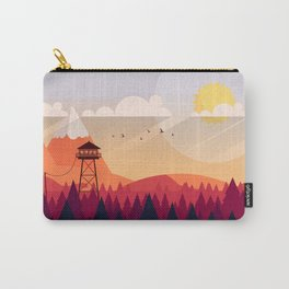 Vector Art Landscape with Fire Lookout Tower Carry-All Pouch