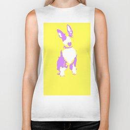 Puppy in yellow purple and white art print Biker Tank