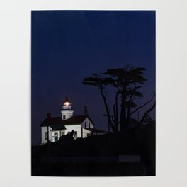 Battery Point Lighthouse in the night's blue cloak. Crescent City, California Poster