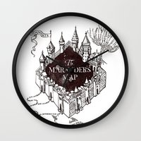marauders Wall Clocks featuring MARAUDERS MAP by ThreeBoys