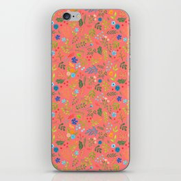 Wild flowers on coral iPhone Skin