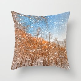 Snow Spattered Winter Forest Throw Pillow