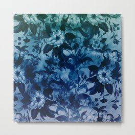 Blossoming flowers print in blue, wild nature drawing Metal Print
