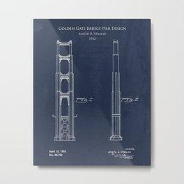 Golden Gate Bridge Pier Design Patent print Metal Print