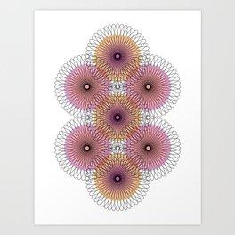 Ah Um Design #008d - Orange & Pink Circles Art Print