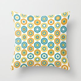 Buttons - Geometric Pattern in Turquoise, Orange, Yellow, and White Throw Pillow
