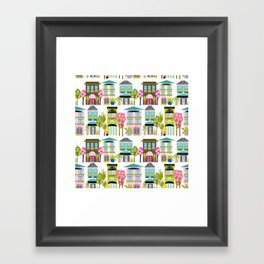 Boutiques and Downtown Buildings by Karen Fields Framed Art Print