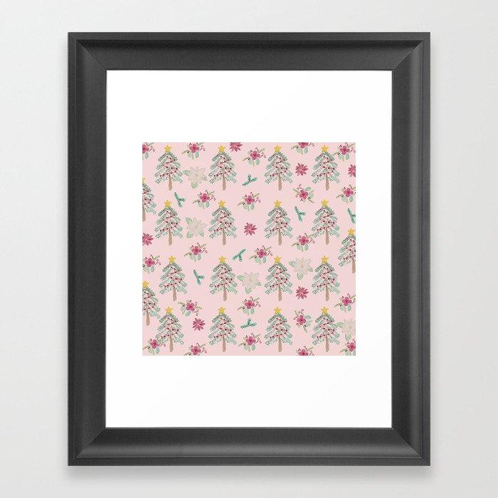 Christmas Pattern Pink Gerahmter Kunstdruck