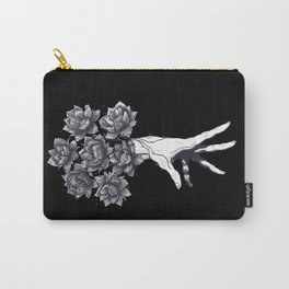 Hand with lotuses on black Carry-All Pouch