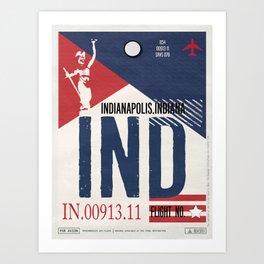 Vintage Indianapolis Indiana Luggage Tag Poster Art Print