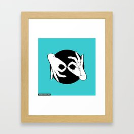 Sign Language (ASL) Interpreter – White on Black 11 Framed Art Print