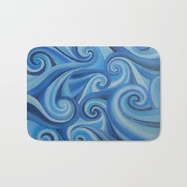Parting Waves abstract ocean sea swirls painting Bath Mat
