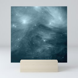 Galaxy : Pleiades Star Cluster NeBula Steel Blue Mini Art Print