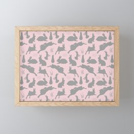 Rabbit Pattern | Rabbit Silhouettes | Bunny Rabbits | Bunnies | Hares | Pink and Grey | Framed Mini Art Print