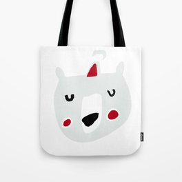 Cute holiday bear white Tote Bag