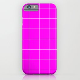Graph Paper (White & Magenta Pattern) iPhone Case