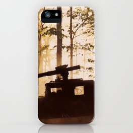 HUMV with Rocket Launcher in the foggy woods iPhone Case