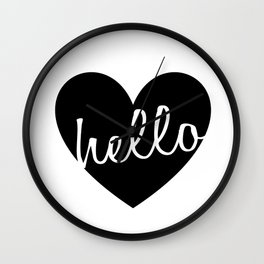 Hello Heart Wall Art #4 Black Heart Wall Clock
