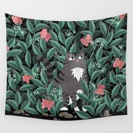 Butterfly Garden (Tabby Cat Version) Wall Tapestry
