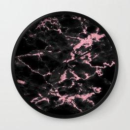 marble black pink Wall Clock