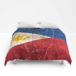 Vintage Aged and Scratched Filipino Flag Comforters