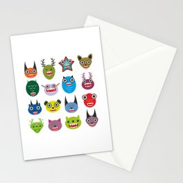 Cute cartoon Monsters Set. Big collection on white background Stationery Cards
