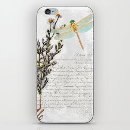 Chamomile Herb, Dragonfly Bumble Bee Botanical painting, Cottage style iPhone Skin