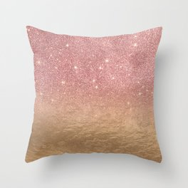 Rose Gold Glitter Crumbled Foil Ombre Gradient Throw Pillow