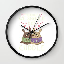 Kawaii Things We Should Do: Cuddle Anime Animals Wall Clock