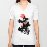 sunset V-neck T-shirts featuring A samurai's life by Picomodi