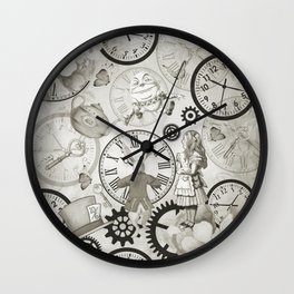 Wonderland Time - Vintage Black & White Wall Clock