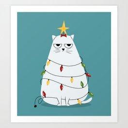 Grumpy Christmas Cat Art Print