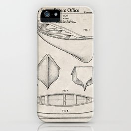 Canoe Patent - Kayak Art - Antique iPhone Case