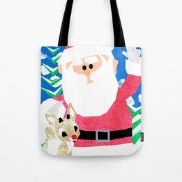 Santa and Rudolph Tote Bag