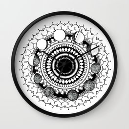Lunar Phases Mandala Wall Clock