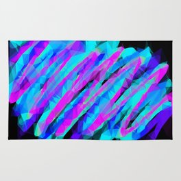 psychedelic geometric polygon abstract in pink blue with black background Rug