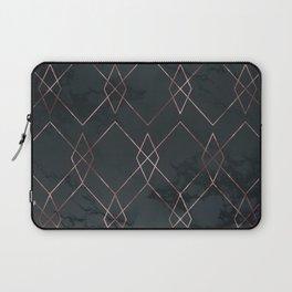 Modern Deco Rose Gold and Marble Geometric Dark Laptop Sleeve