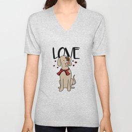 love dog Happy Funny Cute Puppy Doggie Present Unisex V-Neck