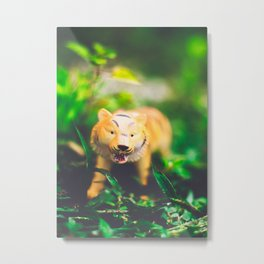 Toy Tiger in the Wild Metal Print