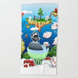 Some pigs fly in the rain Beach Towel