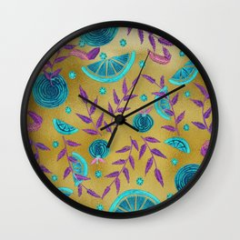 Neon Orange - Texture Gold Wall Clock