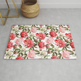 Peonies and Lilies - flower pattern no 1 Rug