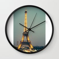 90s Wall Clocks featuring The 90s in Paris by MarioGuti