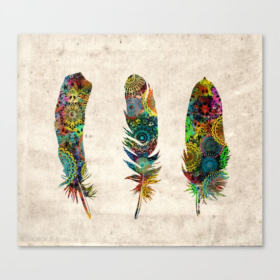mandala vintage feathers Canvas Print