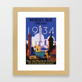 1934 Chicago World's Fair Travel Poster Framed Art Print